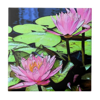 Dragonfly Waterlily Tile