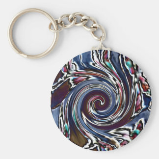 Dragonfly Wave Abstract Nature Basic Round Button Keychain
