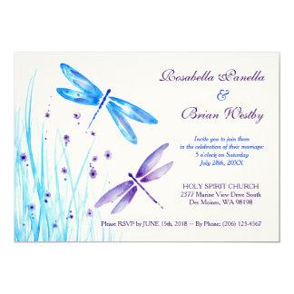 Dragonfly Wedding Invitations - Blue Watercolor