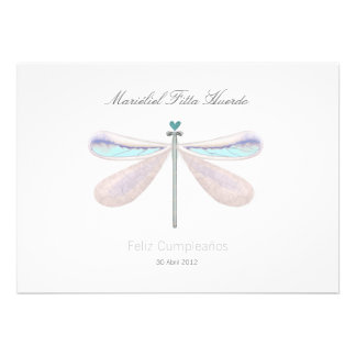 Dragonfly white blue whimsical nature summer party invite