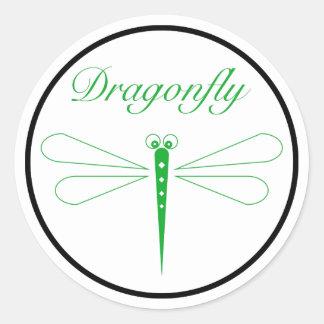 Dragonfly - White Classic Round Sticker, Glossy Classic Round Sticker