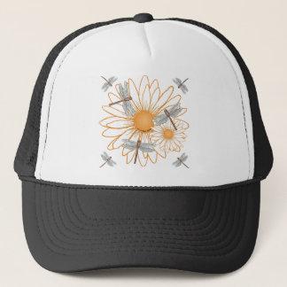 dragonfly White Daisy Trucker Hat