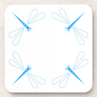 Dragonfly - White Hard Plastic coasters - set of 6