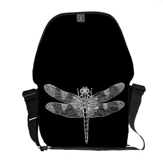 Dragonfly (white) messenger bags