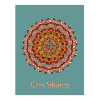 Dragonfly Wing Om Shanti Mandala Postcard