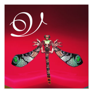 DRAGONFLY WOMAN  MONOGRAM, red burgundy gold Card