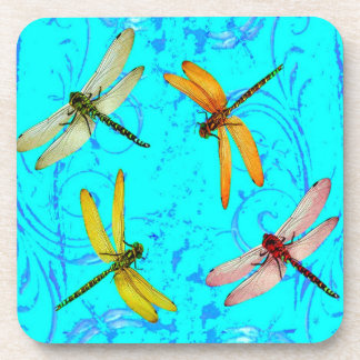 DRAGONFLY WORLD IN BLUE ABSTRACT  DESIGN COASTER