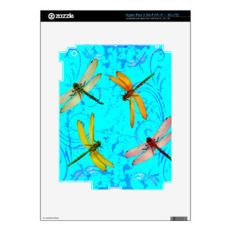 DRAGONFLY WORLD IN BLUE ABSTRACT  DESIGN SKIN FOR iPad 3