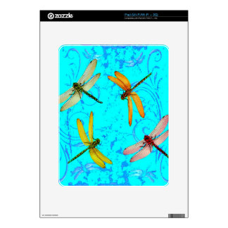 DRAGONFLY WORLD IN BLUE ABSTRACT  DESIGN SKIN FOR THE iPad