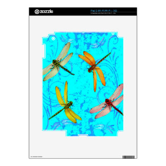 DRAGONFLY WORLD IN BLUE ABSTRACT  DESIGN SKIN FOR THE iPad 2