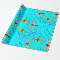 DRAGONFLY WORLD IN BLUE ABSTRACT  DESIGN WRAPPING PAPER