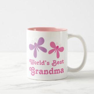 Dragonfly World's Best Grandma Gift Two-Tone Coffee Mug