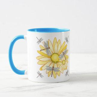 dragonfly Yellow Daisy Mug