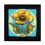 Dragonfly Yellow Poppy Jewelry Boxes
