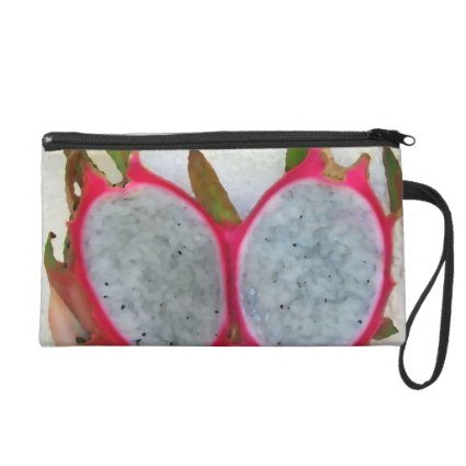 dragonfruit abstract cut in half neat fruit food wristlet clutch