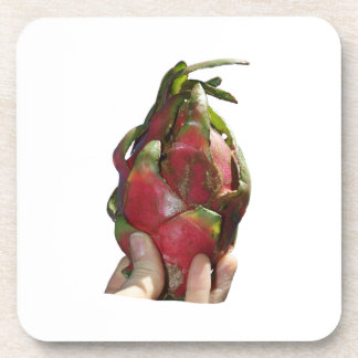 Dragonfruit held in fingers photo coaster