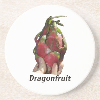 Dragonfruit held in fingers with text photo Pitaya Drink Coasters