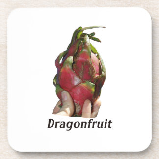 Dragonfruit held in fingers with text photo Pitaya Coaster