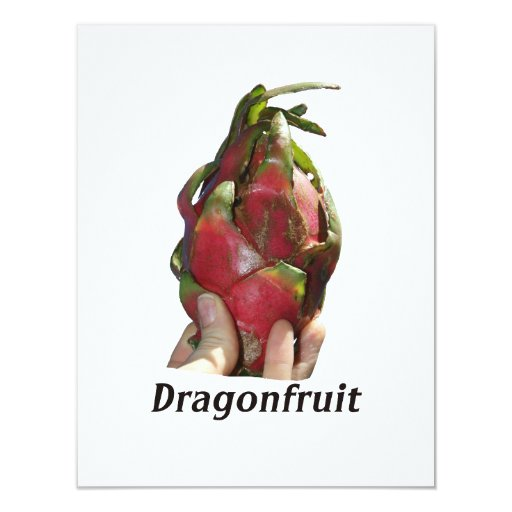 Dragonfruit held in fingers with text photo Pitaya 4.25x5.5 Paper Invitation Card