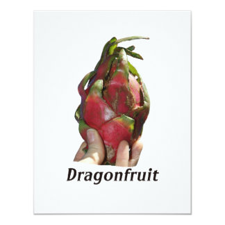 Dragonfruit held in fingers with text photo Pitaya Invite