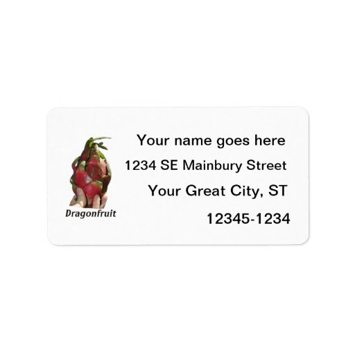 Dragonfruit held in fingers with text photo Pitaya Custom Address Label