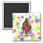 Dragonfruit held in fingers with text photo Pitaya Fridge Magnets