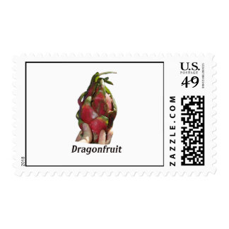 Dragonfruit held in fingers with text photo Pitaya Stamps