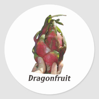Dragonfruit held in fingers with text photo Pitaya Stickers