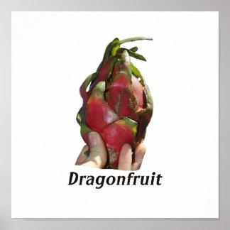 Dragonfruit se sostuvo en dedos con la foto Pitaya Posters