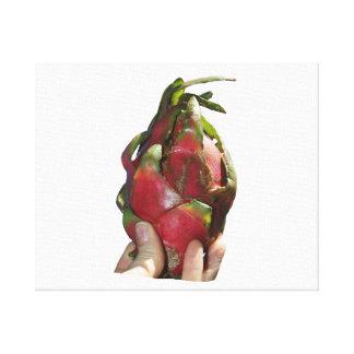 Dragonfruit se sostuvo en foto de los dedos impresión en lona estirada