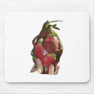 Dragonfruit se sostuvo en foto de los dedos alfombrillas de raton