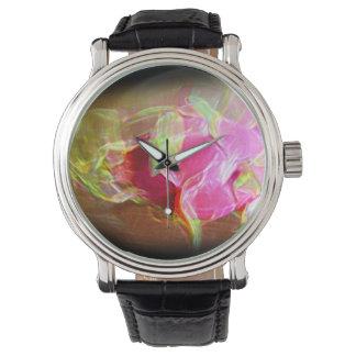 dragonfruit stylized glowing pink abstract wrist watch