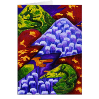 Dragonland -  Abstract Green Dragon Blue Mountains Cards