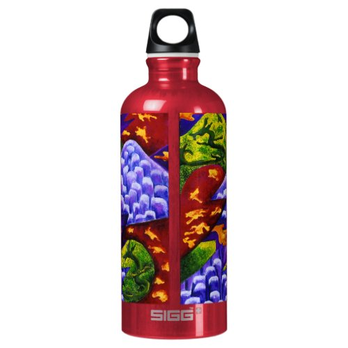 Dragonland, Abstract Green Dragons, Blue Mountains Aluminum Water Bottle