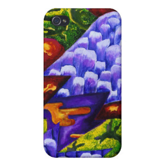 Dragonland - Abstract Green Dragons Blue Mountains iPhone 4/4S Cases