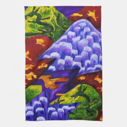 Dragonland, Abstract Green Dragons, Blue Mountains Kitchen Towels