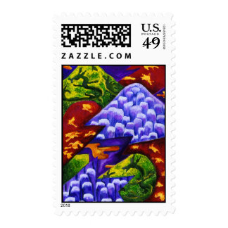 Dragonland, Abstract Green Dragons, Blue Mountains Stamps