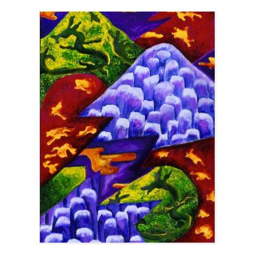 Dragonland, Abstract Green Dragons, Blue Mountains Postcard