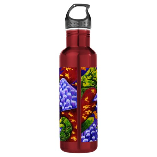 Dragonland, Abstract Green Dragons, Blue Mountains Water Bottle