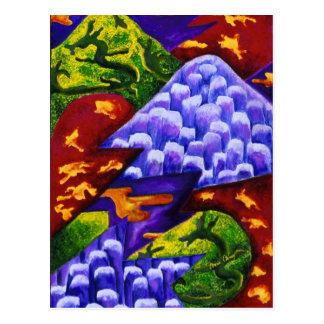 Dragonland, dragones verdes del extracto, montañas postales