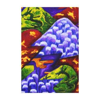Dragonland - dragones verdes y montañas azules del impresiones en lona
