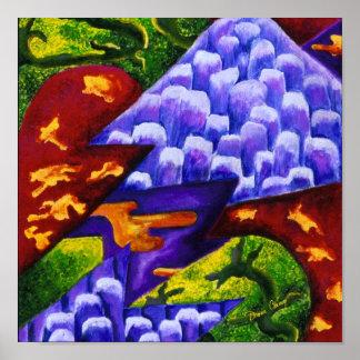 Dragonland - dragones verdes y montañas azules del impresiones