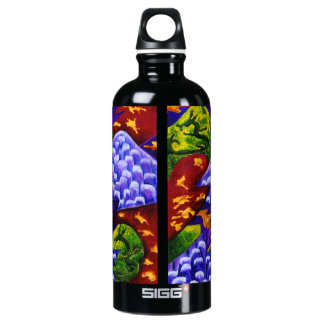 Dragonland - Green Dragons & Blue Ice Mountains Aluminum Water Bottle