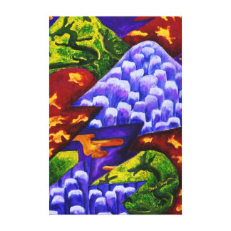 Dragonland - Green Dragons & Blue Ice Mountains Gallery Wrapped Canvas