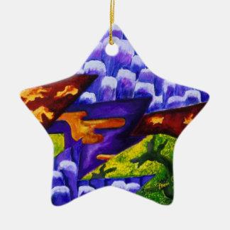 Dragonland - Green Dragons & Blue Ice Mountains Ceramic Ornament