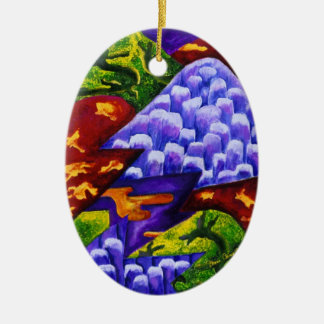 Dragonland - Green Dragons & Blue Ice Mountains Christmas Tree Ornaments