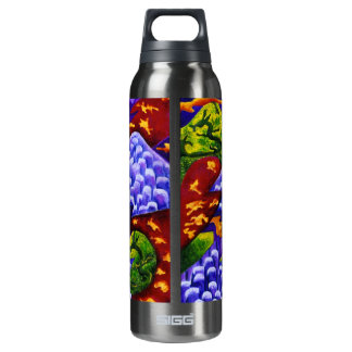 Dragonland - Green Dragons & Blue Ice Mountains Thermos Water Bottle