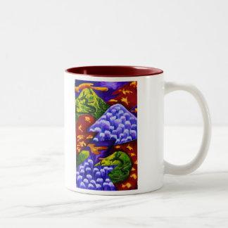 Dragonland - Green Dragons & Blue Ice Mountains Two-Tone Coffee Mug