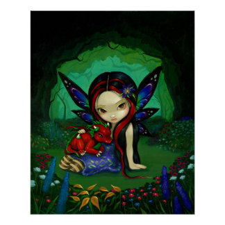 Dragonling Garden 1 fantasy dragon fairy Art Print
