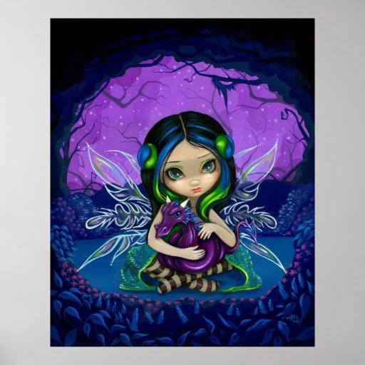 Dragonling Garden 2 fantasy dragon fairy Art Print